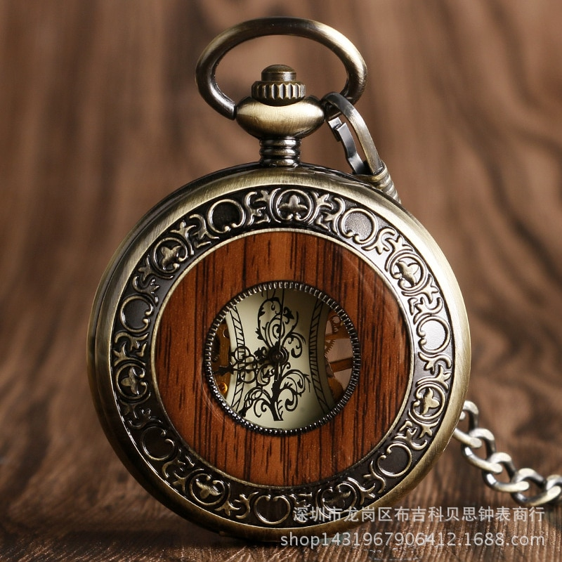 W Wooden Ring Skeleton Pocket Watch Roman Digital Manual Mechanical Pocket Watch New Fashion Карманные Часы enlarge