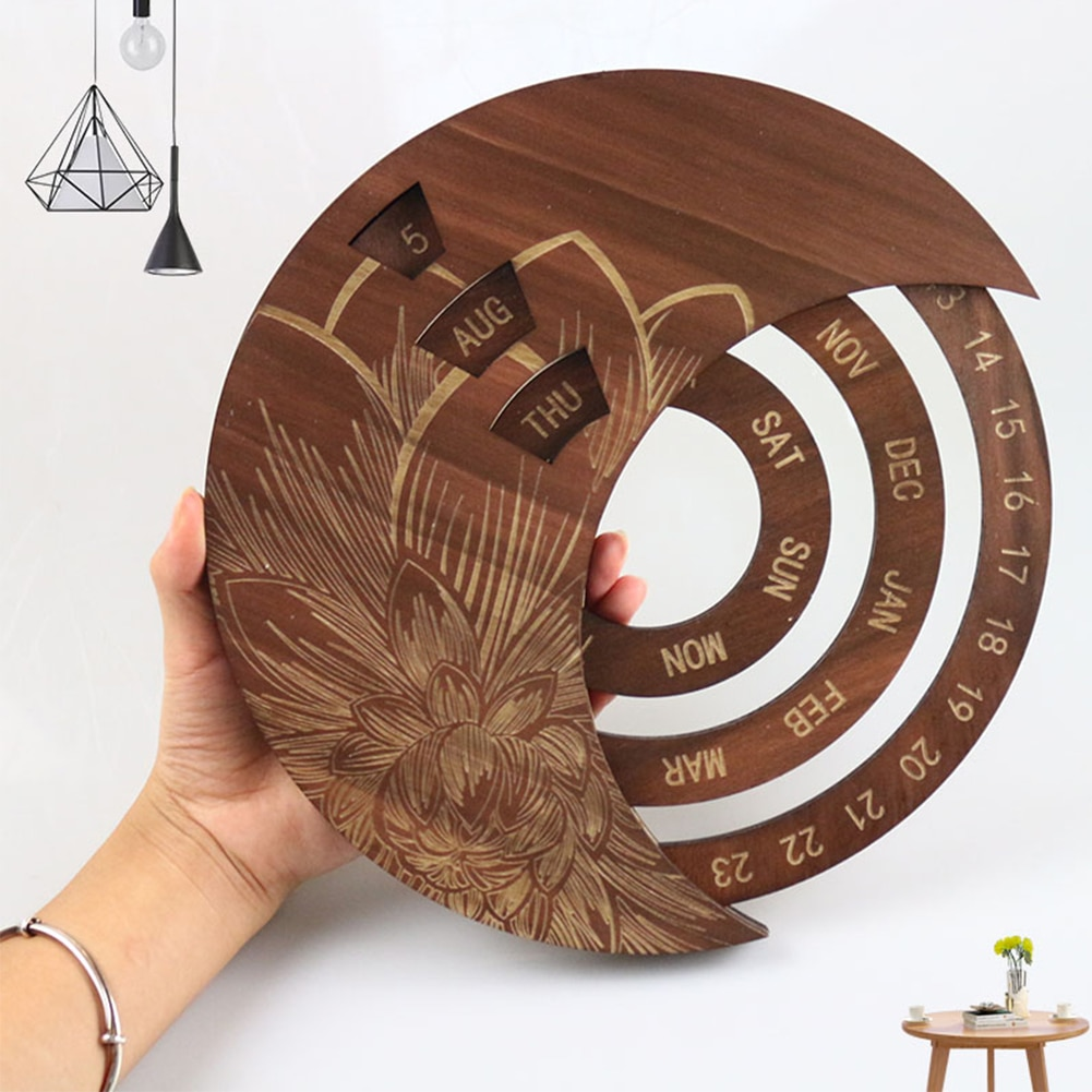 Wooden Round Calendar Creative Wooden Wall Calendar Wall Hanging Crafts Decorative Xmas Gift Christmas Advent Calendars