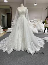 Real Photos Beaded Wedding Dress 2021 A Line Bridal Dresses Detachable Skirt Customized Vestido de Noivas