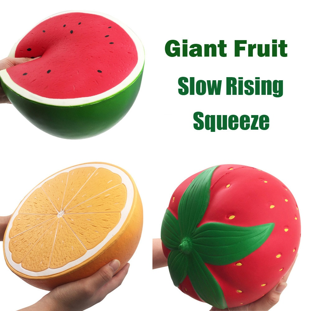 New Giant Fruit Squishy Slow Rising Orange Watermelon Strawberry Peach Jumbo Soft Kawaii Squishies Decompression Toys enlarge