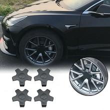 Cubierta tapacubos de coche 4 Uds., tapa anti-polvo ABS, resistente al agua, Color brillante, llanta central, accesorios para Tesla Model 3