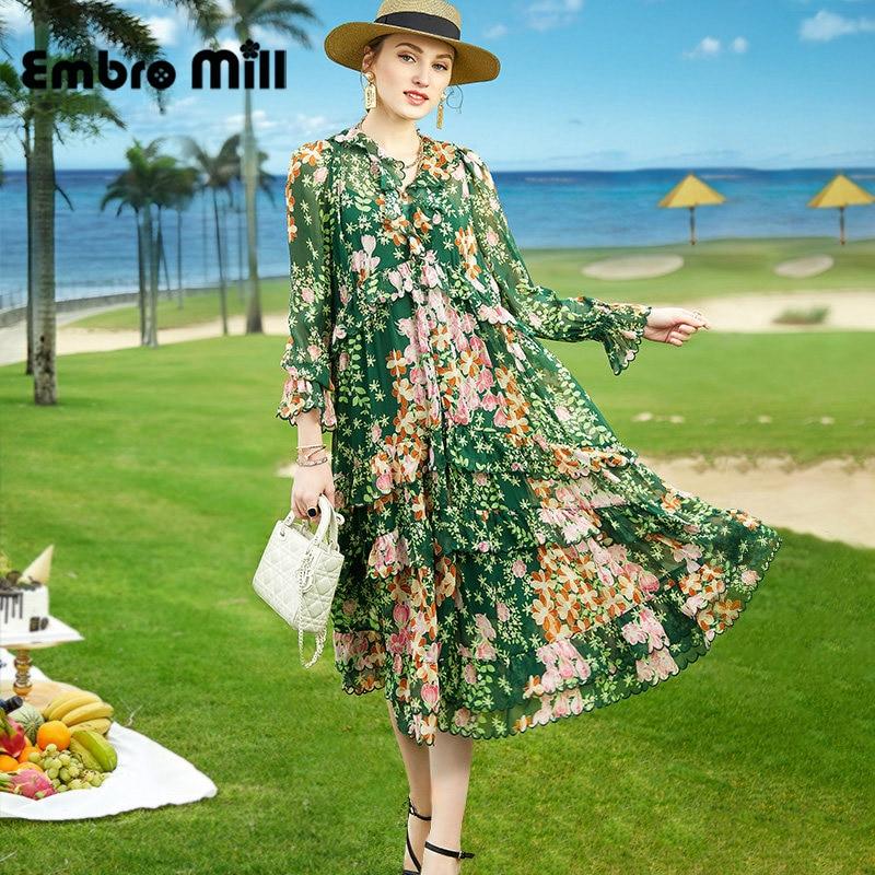 جديد الربيع الحرير الطباعة النساء الشارع نمط الخامس الرقبة البتلة كم عالية الخصر منتصف طول عطلة ألف خط اللباس S-XL