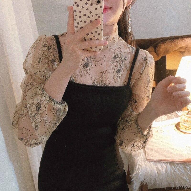 Корейская женская блузка в стиле ретро, темпераментная кружевная рубашка с цветочным рисунком, женская блузка с воротником-стойкой и длинн...