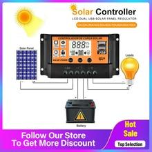 Contrôleur de Charge pour panneaux solaires, MPPT/PWM, 12/24V, 10a, 20a, 30a, 50a, 100a, LCD, double USB
