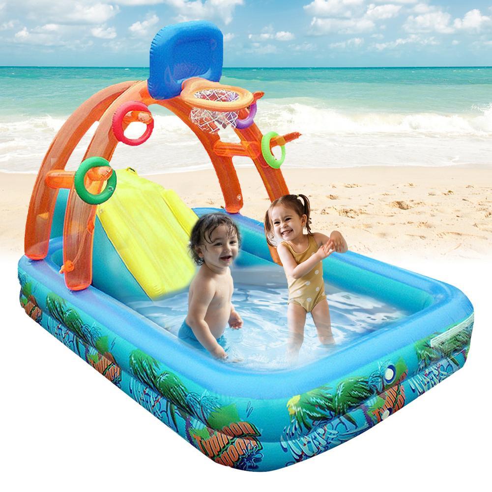 حمام سباحة قابل للنفخ للأطفال مع كرة السلة هوب في الهواء الطلق متعددة الوظائف المياه انزلاق بركة المحمولة الفناء الخلفي تلعب بركة