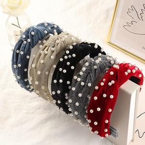 Wholesale women cute velvet headband girl's bead headwear lady's hair accessories ins korea style hairbands