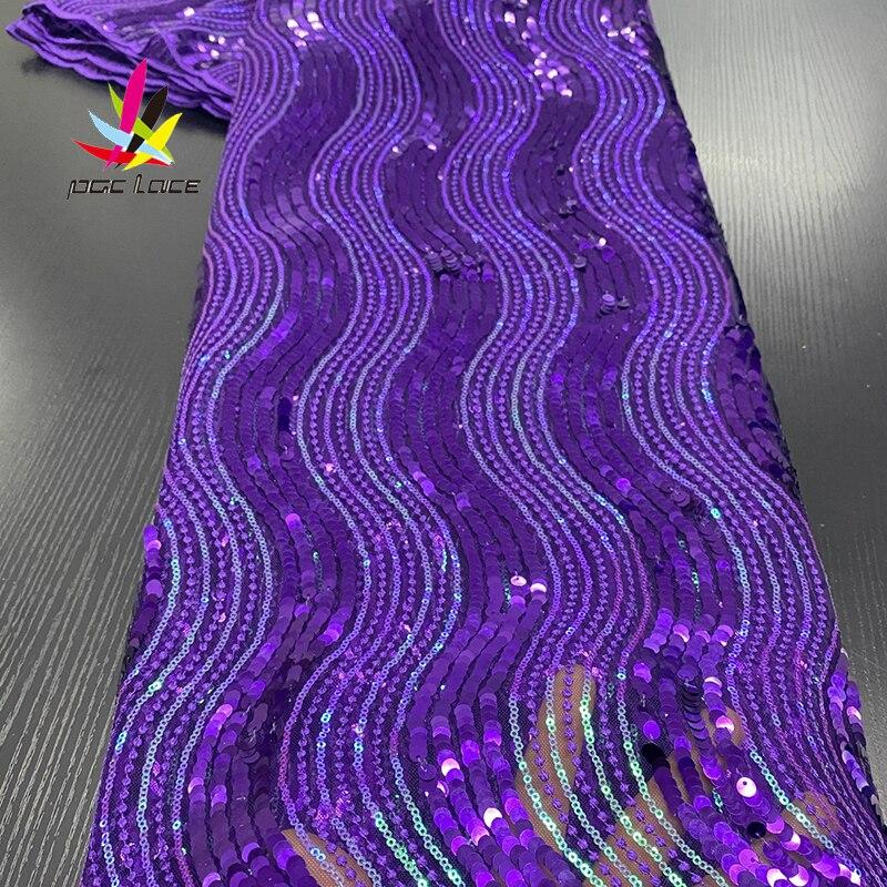 Bordado de lentejuelas tela de encaje nupcial púrpura secuencia bordado elegante francés africano nigeriano último estilo de diseño de gama alta