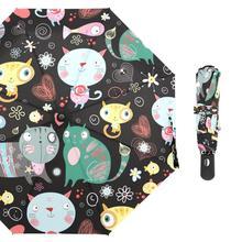 Cute Cartoon Cats Folding Umbrella Women Rain Umbrellas Innovative Ultralight Custom Automatic Umbrella for Men Kids