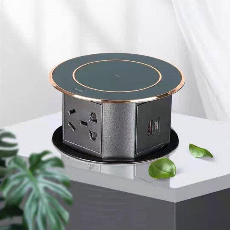 مقبس تلقائي منبثق مع شحن USB لاسلكي ، طاولة مكتب منزلية ذكية ، مقابس مخفية قابلة للسحب ، مقاومة للماء