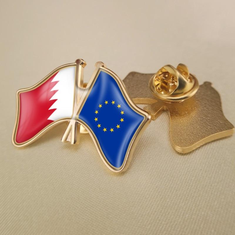 Unión Europea y Bahréin cruzado doble amistad banderas solapa Pins