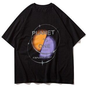 LACIBLE 2021 Men Hip Hop Harajuku Streetwear Oversize T-Shirt Planet Graphic Printed T Shirt Cotton Short Sleeve Tops Tees Black