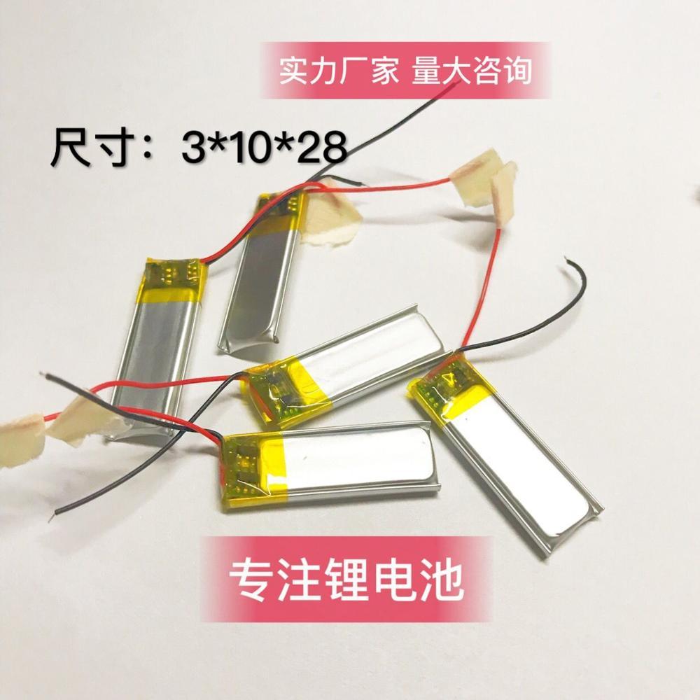 301028 301030 3,7 v 100mAh 28mm * 10mm * 3mm tamaño recargable litio li-po li-polímero Li Ion acumulador de batería AKKU