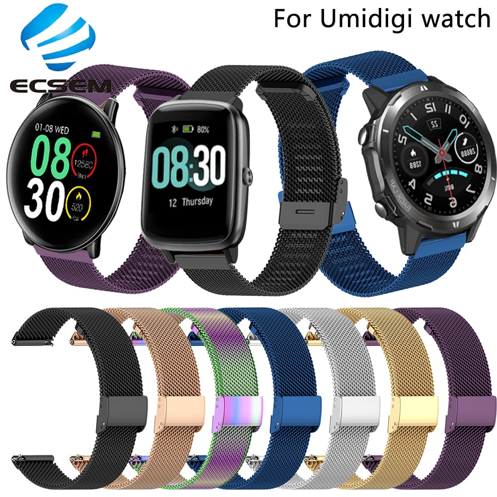 Wrist strap for Umidigi Uwatch3/Uwatch 3S watch accessories metal band loop for Ufit/Urun/Uwatch wristband quick fit replacement