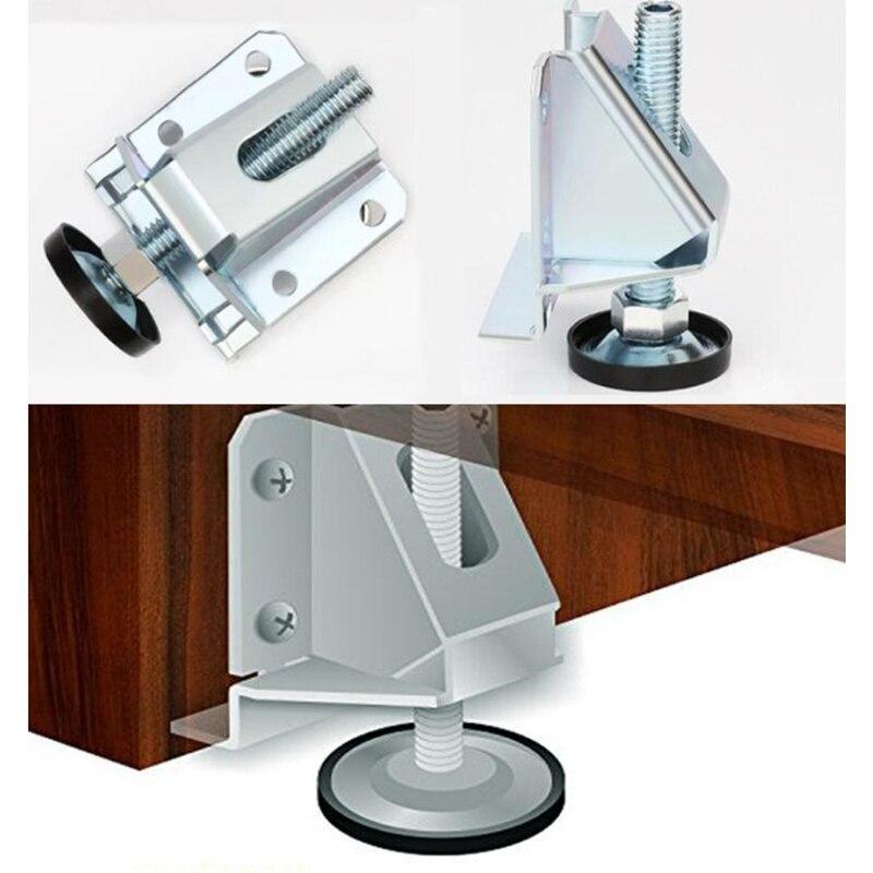 4 قطعة الفولاذ المقاوم للصدأ التسوية قدم الأثاث مستوي الساقين ، قابل للتعديل ارتفاع أريكة التسوية قدم ، قوية الحاملة