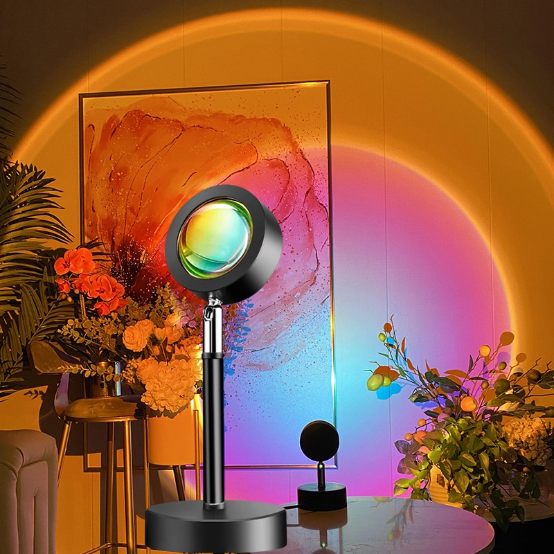 USB Sunset Lamp Rainbow Projector Atmosphere Led Night Light for Home Bedroom Bar Coffe Shop Sunset Red Halo Lamp Art Wall Decor