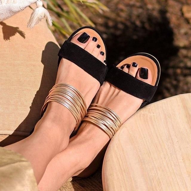 Sandalias para mujer DAHOOD Roma 2020, Sandalias planas antideslizantes Retro tipo gladiador para verano, zapatos de señora para fiesta y oficina, sandalias de playa