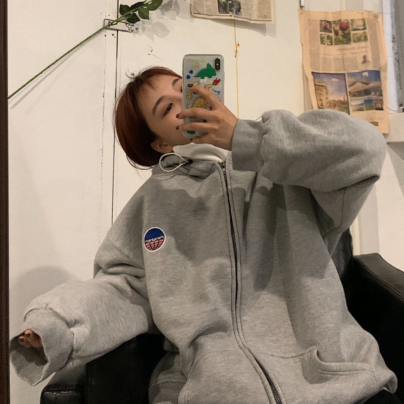 oversized zip up sweatshirt streetwear loose long-sleeved korean style jacket Autumn 2020 new zipper women tops black hoodie