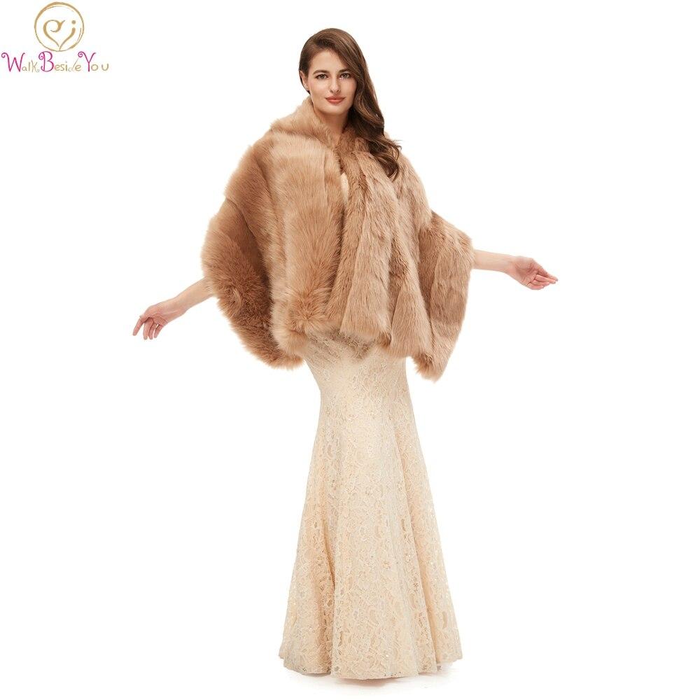 Меховые шали цвета хаки для официальных свадеб, вечерних выпускных платьев, куртки 2020, теплые накидки, зимние женские болеро, накидки для св...