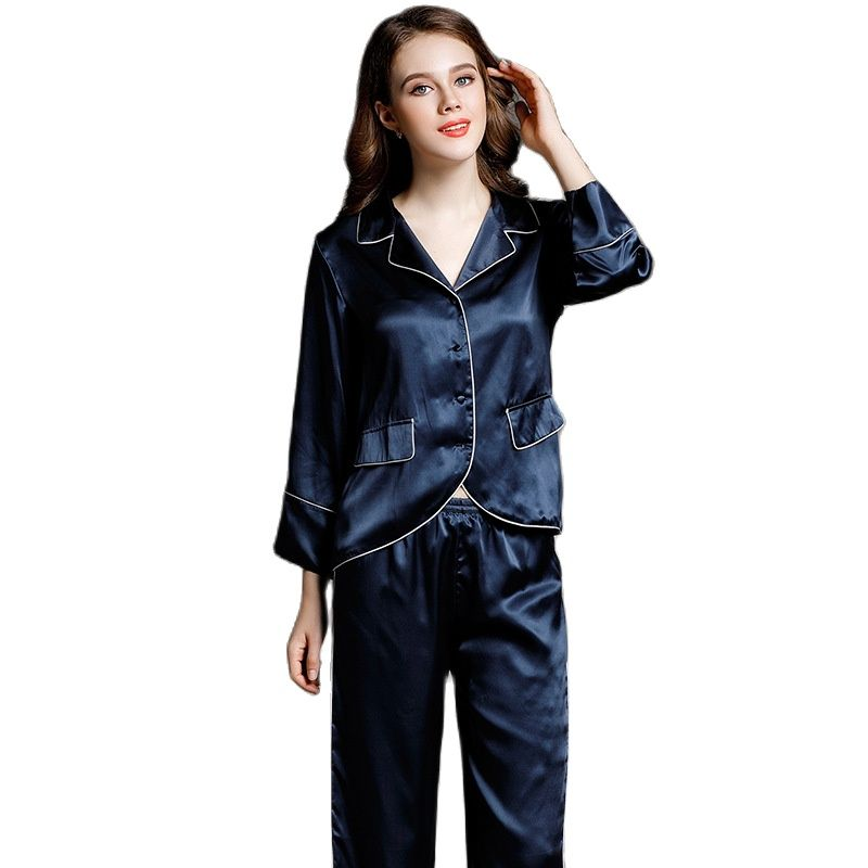 Autumn Winter Real Silk Pajamas Female Two-Piece Set  Long Sleeves  Split Body Women Home Dress Suit Noble 100% Mulberry Silk