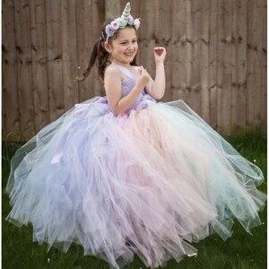 Girls Fluffy Pastel Unicorn Flower Tutu Dress Kids Crochet Tulle Strap Dress Ball Gown with Hairbow Children Party Costume Dress