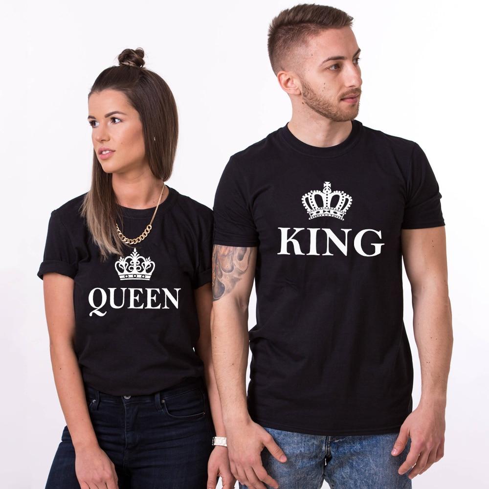Divertida camiseta negra a juego de parejas de su rey y su reina, camiseta Unisex de San Valentín, camisetas de regalo del Día de San Valentín
