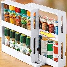 Küche Gewürz Organizer Rack Multi-Funktion Rotierenden Lagerung Regal Rutsche Schrank Schrank Haus Artikel Werkzeug Zubehör Cozinha