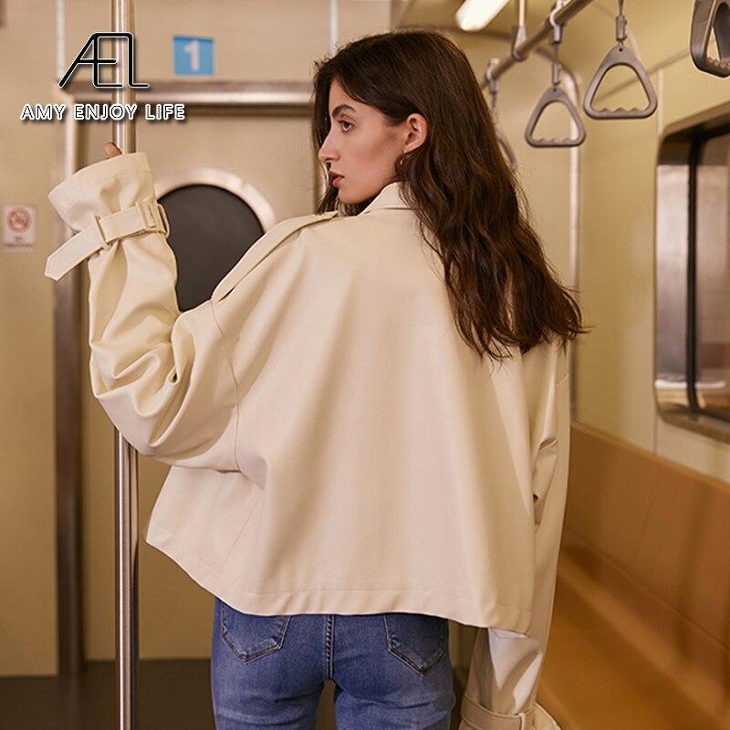 AEL New Loose PU Cream Faux Leather Jacket Women Fashion Moto Biker Short Jackets Lady Basic Coat Streetwear enlarge