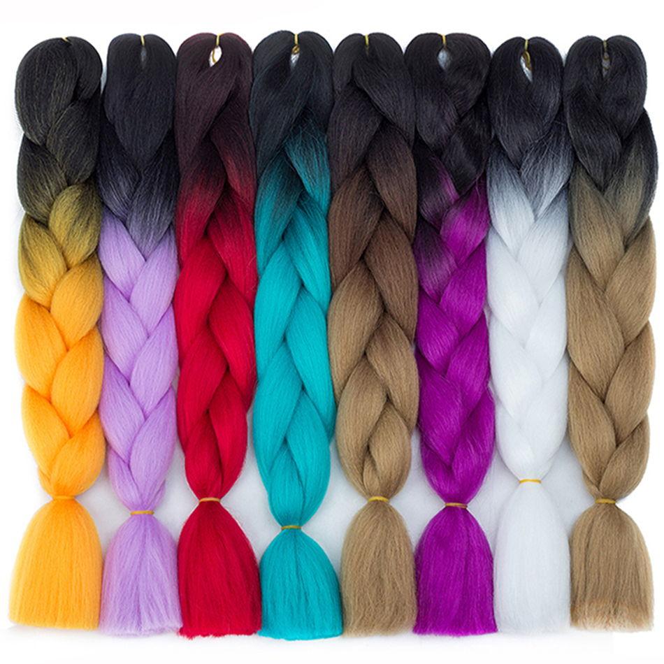 Extensiones de cabello trenzado de croché con fibra de alta temperatura de 24 pulgadas 100g