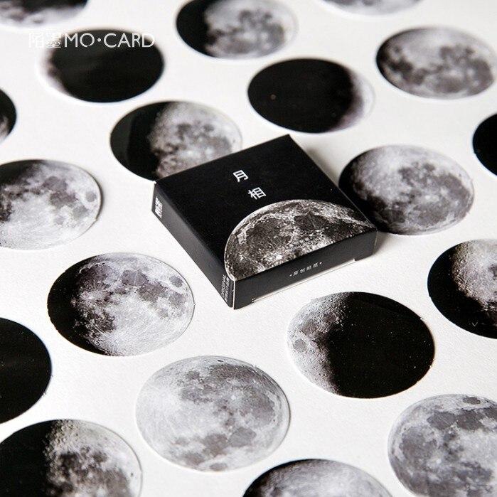 45 uds, pegatinas escamas de fase lunar, pegatinas para diario, pegatinas para álbum de recortes, suministros de arte, Set de Planet estacionario