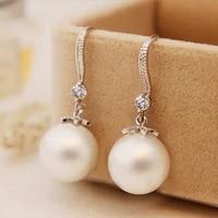 white pearl drop earrings women party jewelry classic vintage elegant hanging ear rings female long earrings luxury brand