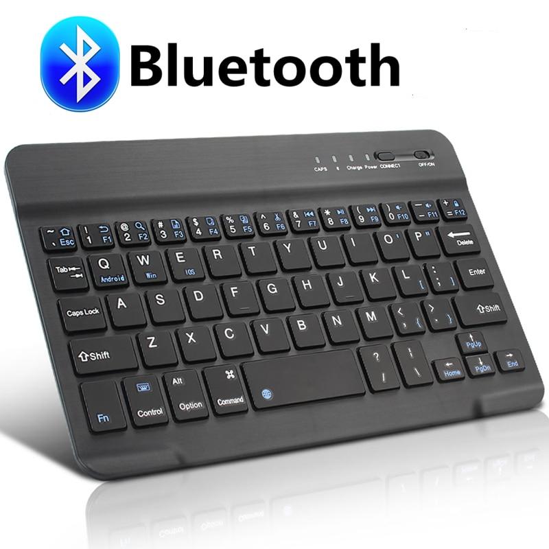 Teclado inalámbrico Bluetooth, Mini teclado ruso para ipad, tableta, teclado de goma compatible con Windows IOS Android