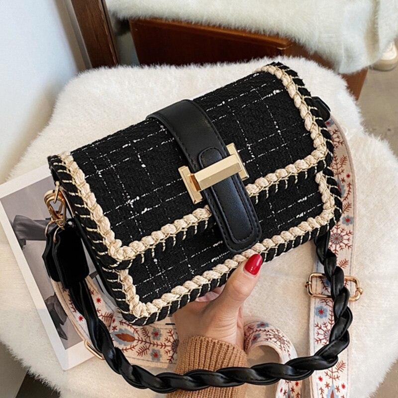 Weave Flap Bags Square Crossbody Bags For Women 2021 New PU Leather Women's Designer Handbag Travel Shoulder Messenger Bag