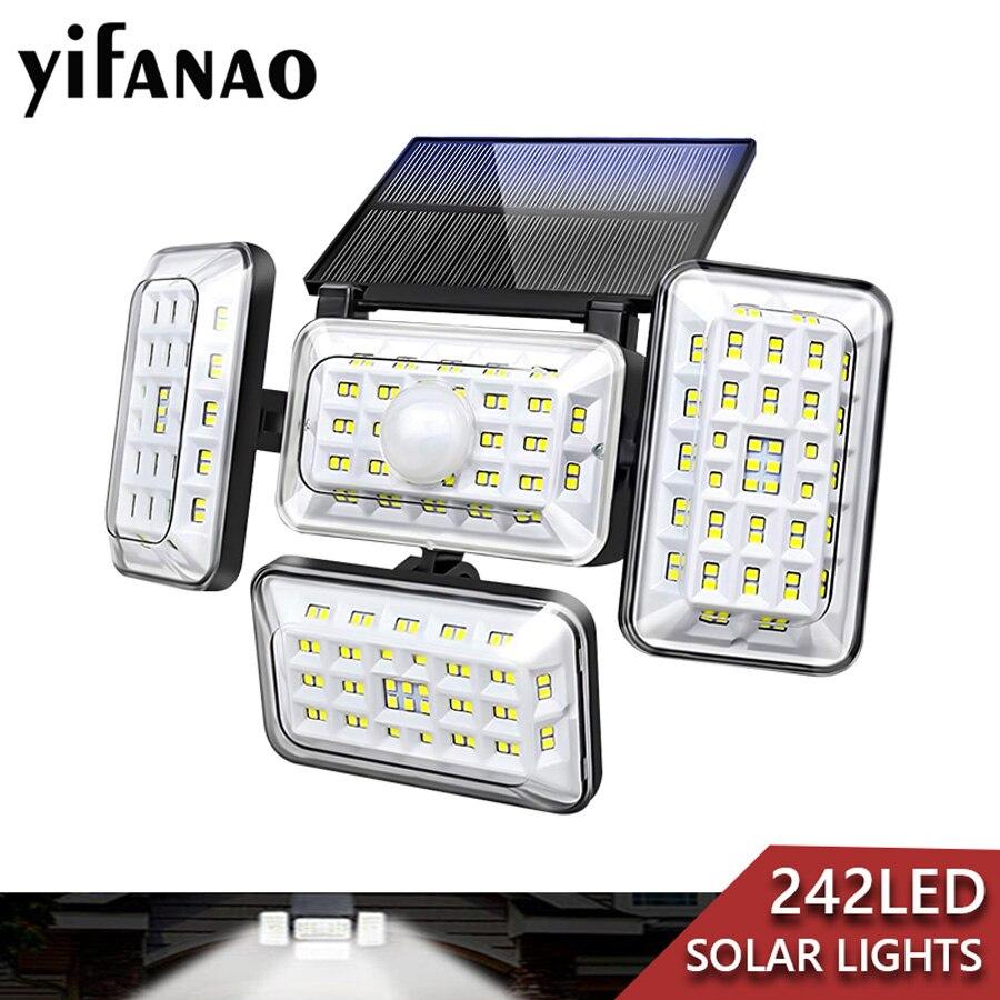 Upgrade 4 Heads 242 LED Solar Lights Outdoor with Motion Sensor 310° Wide Angle Solar Powered Security Light Solar Flood Lights