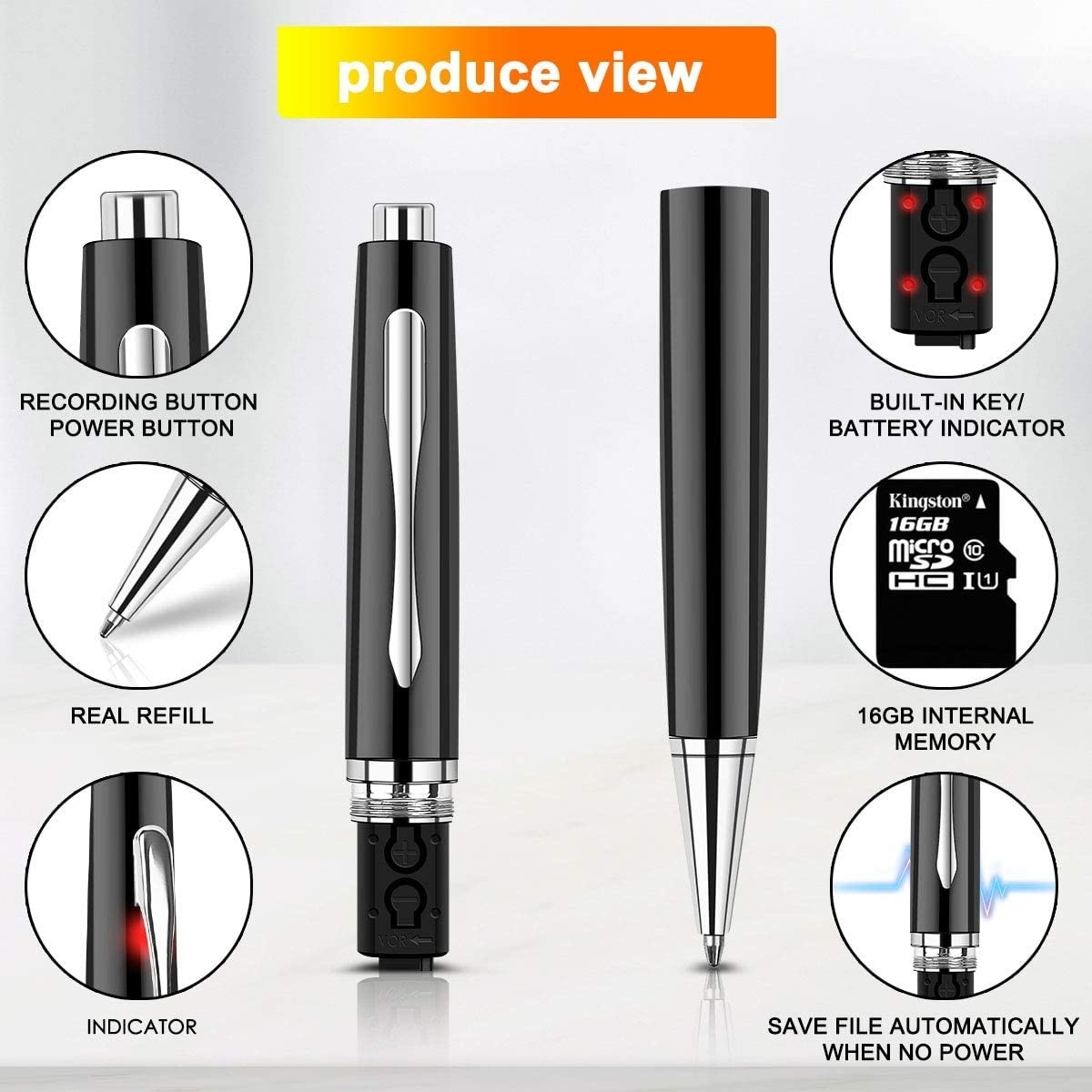 recorder 32GB digital - voice activated recorder, for and mini recording equipment, recorder, portable USB MP3 playback enlarge