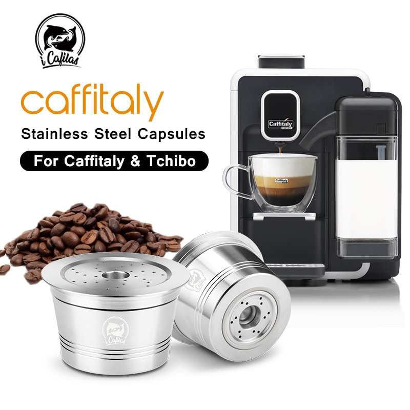 Filtros de café recargables para Caffitaly Tchibo Cafissimo reutilizable de acero inoxidable Cápsula de café Pod Tamper cuchara