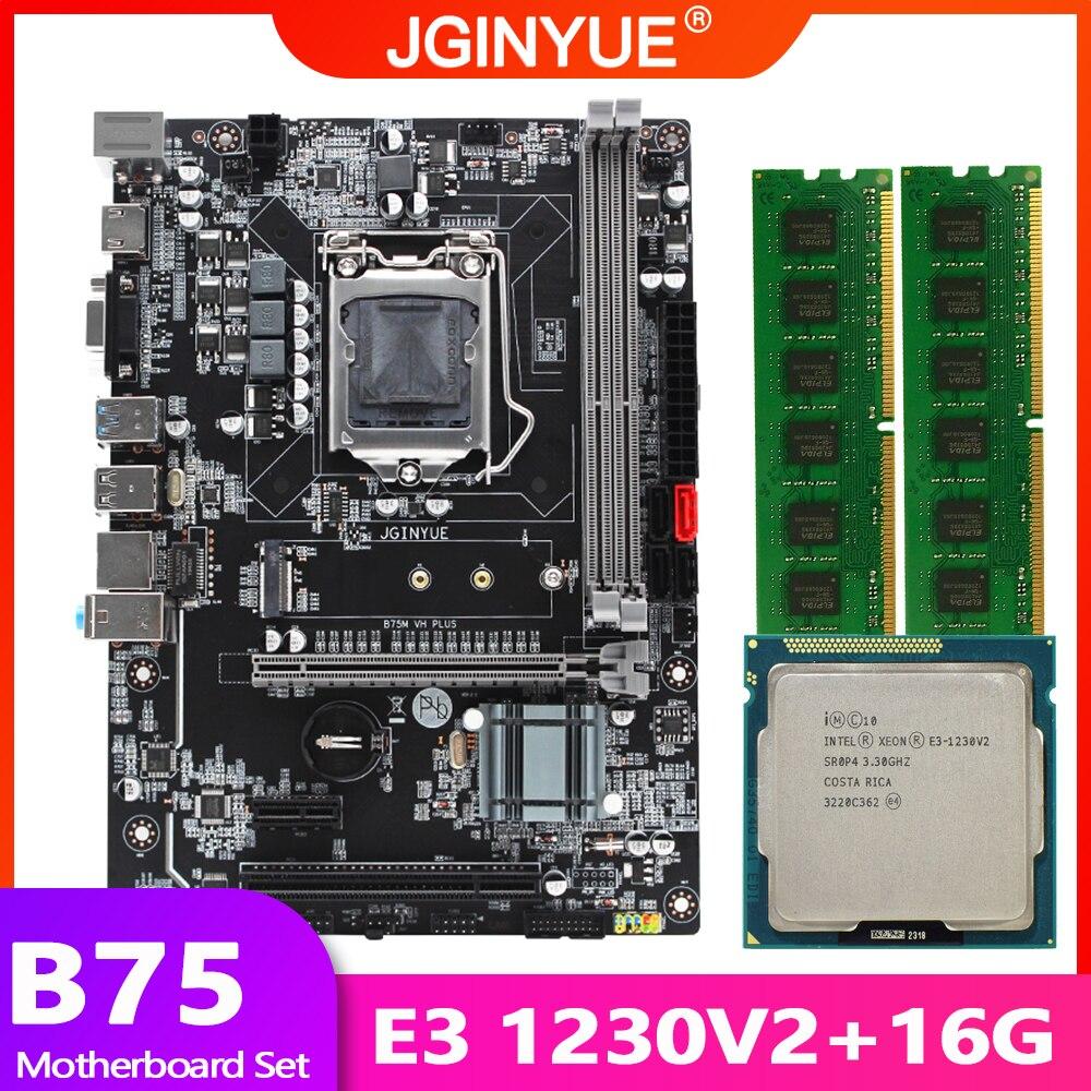B75 LGA 1155 اللوحة مجموعة عدة مع إنتل زيون E3 1230 V2 CPU المعالج 16GB(2*8GB) DDR3 RAM الذاكرة M.2 NVME 2280 B75M-VH زائد