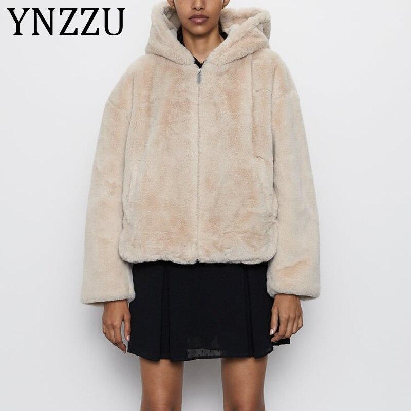 YNZZU 2019 Otoño Invierno Rex conejo Imitación Piel abrigo mujeres cálido suave con capucha chaqueta de piel de vellón borroso cremallera Mujer sobretodo a1207