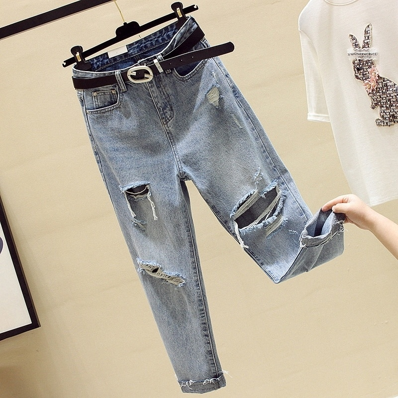 2021 Straight Autumn Beggar Ripped Jeans for Women