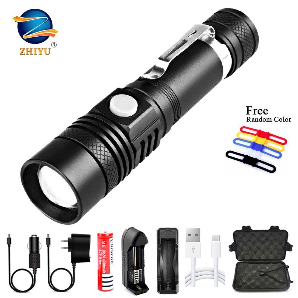 ZHIYU-linterna LED De Alta Potencia T6, con USB, Recargable, De Alta Potencia,...