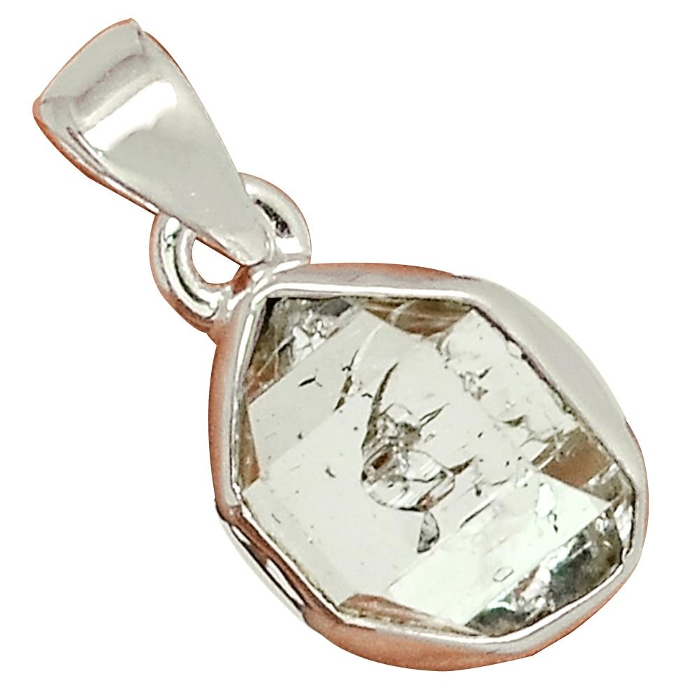 Genuine  Herkimer Diamond   Pendant 925 Sterling Silver, Total Length : 22  mm, AP7153