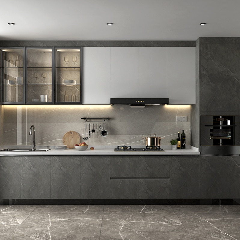 خزانة بسيطة نمط الكوارتز حجر كونترتوب خزانة مطبخ متكاملة خزانة موقد مخصصة