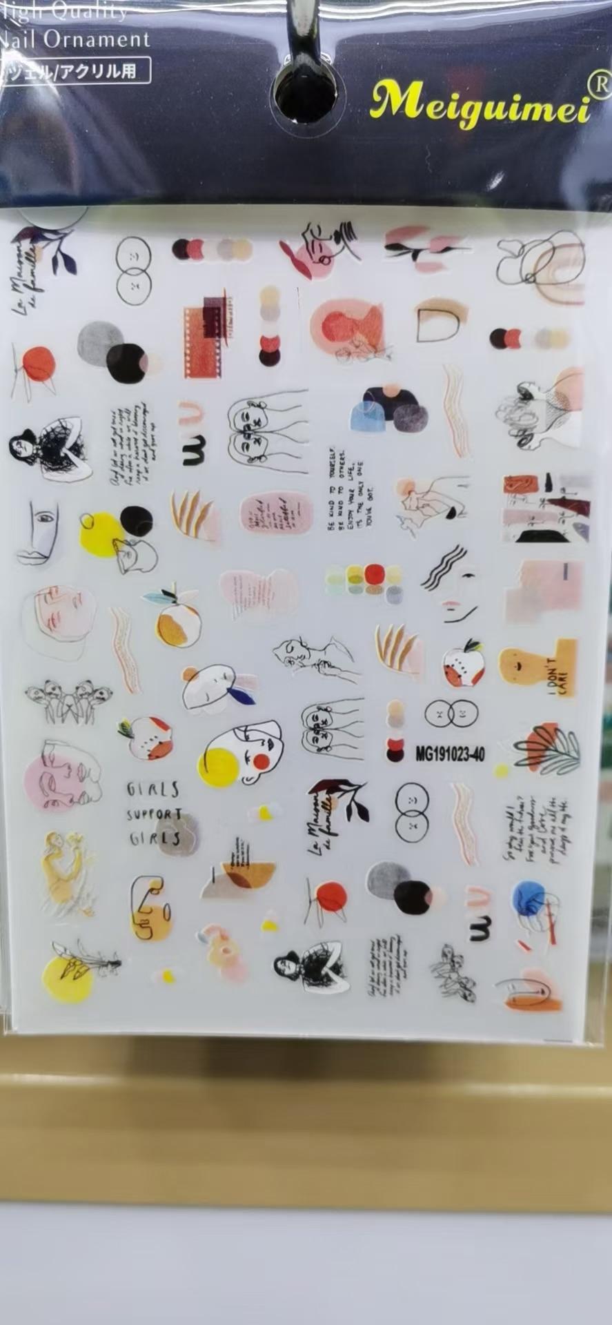 3D Nail Sticker Face Design DIY Tips Nail Art Decoration Packaging Self-adhesive Transfer Decal Slider