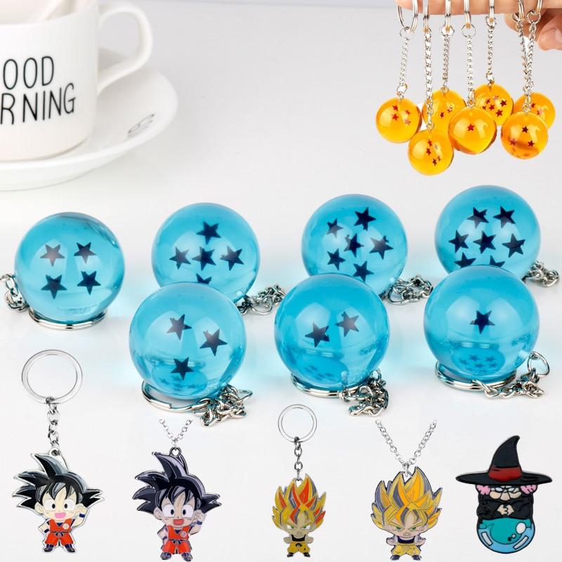 Toy Keychain Anime Dragon Ball Theme Pendant Keyrings 3D 1-7 Stars Resin Crystal Ball Jewelry Goku Key Chains Collection Gift