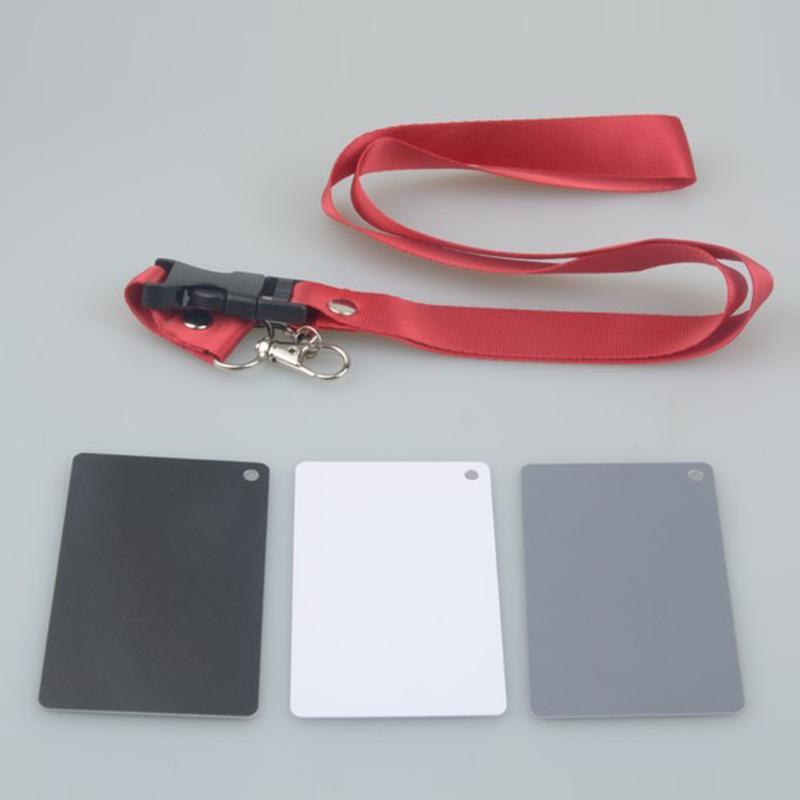 3 en 1 blanco negro gris bolsillo tamaño cámara Digital Balance tarjetas cuello Correa con hebilla referencia estudio de fotografía accesorios