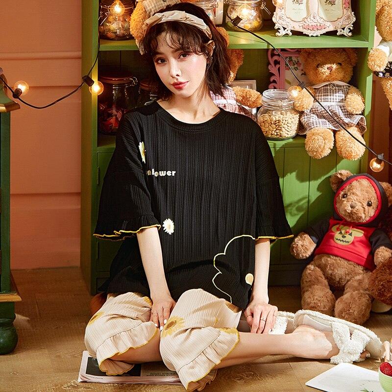 Новинка лета 2021, женская пижама, домашняя одежда, размера плюс, комплект одежды для сна с коротким рукавом, пижамный комплект для женщин, Хло...