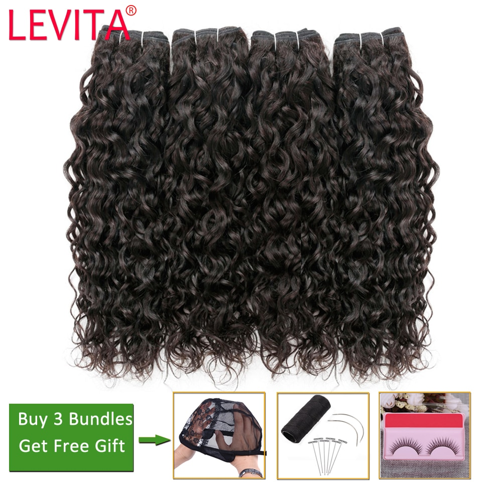 Levita Water Wave Bundles Deals 100% Human Hair Bundles Bundles non-remy Hair Extensions Peruvian Brazilian Hair Weave Bundles