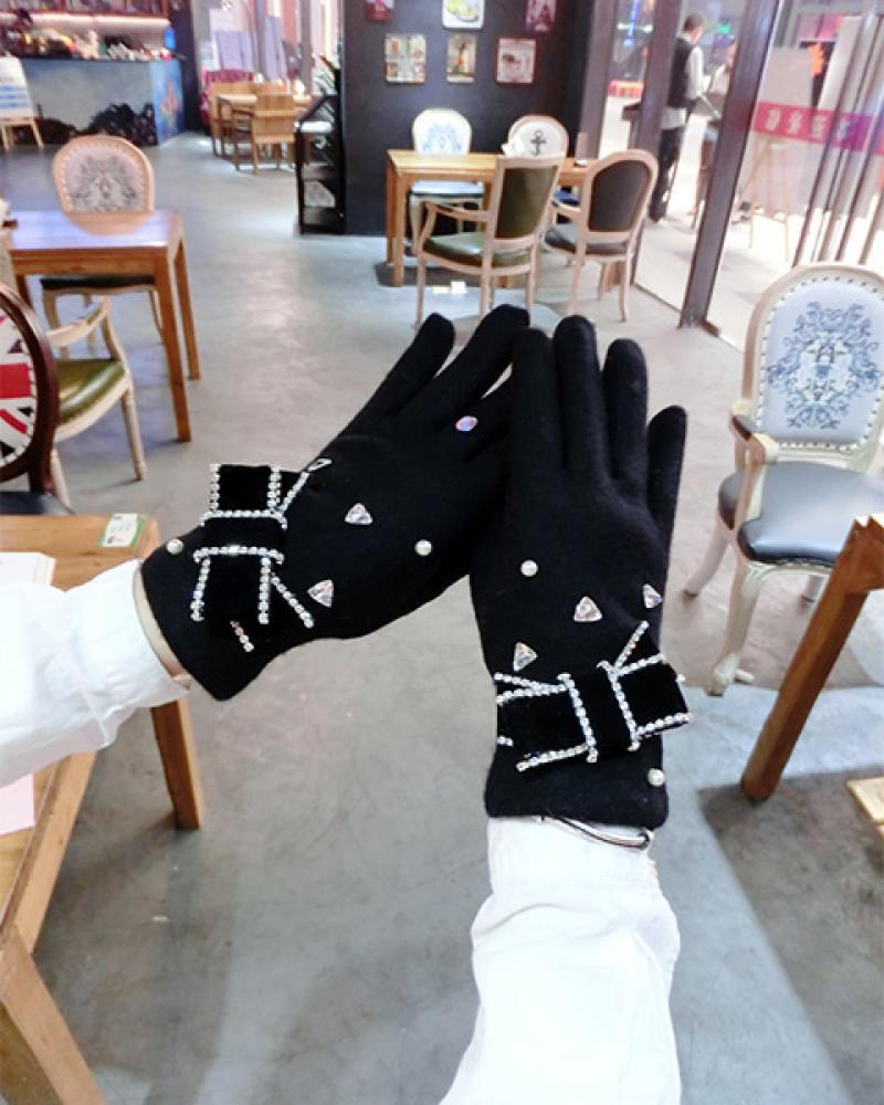 Cashmere Gloves Velvet Rhinestone Bow Pearl Korean Version Plus Points Finger Touch Screen Women