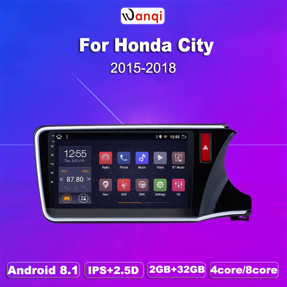 2G RAM 32G ROM 10,1 pulgadas Android 8,1 GPS de navegación del coche para Honda City-Greiz Gienia 2015- 2018 RHD