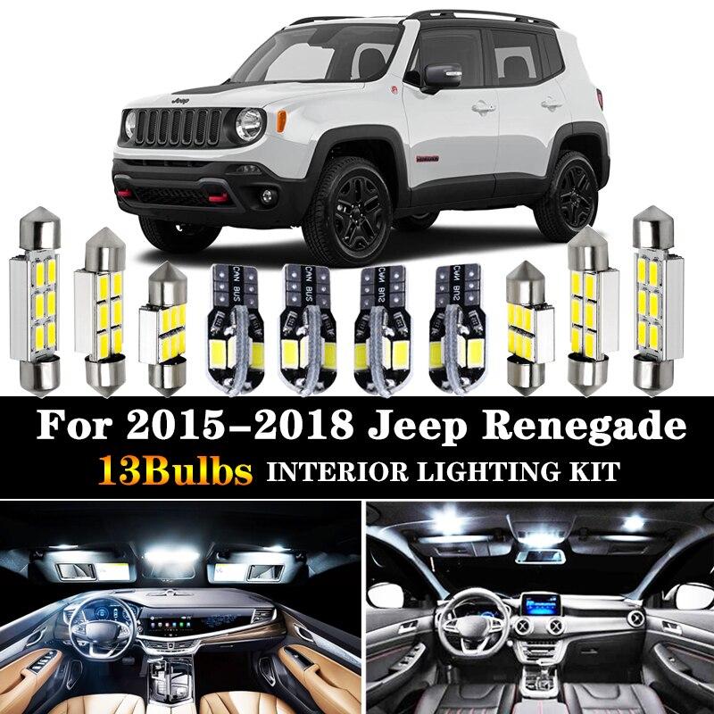 13pc x canbus livre de erros carro lâmpada led interior dome mapa luz kit pacote 2015-2018 para jeep renegado lâmpada da placa de licença