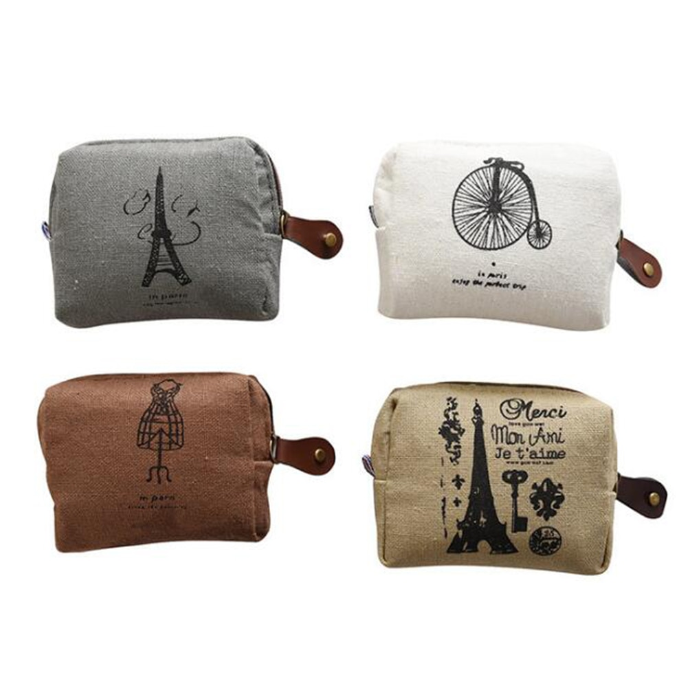 Women's Small Coin Purses And Holders Canvas Cute Cartoon Print Coin Money Card Wallet Pouch Earphone Key Bags Purse Wallet